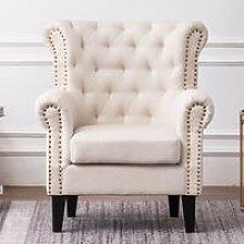 Linen Chesterfield Tub Chair Armchair, Beige