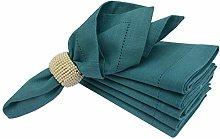 Linen Clubs 6 PACK Slub Cotton Dinner Napkins Teal