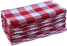 Linen Clubs Pack Of 12 Red -white 100% Cotton Yarn