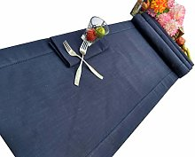 Linen Clubs Slub Cotton Textured Table Runner with