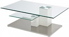 Linen Coffee Table In Clear Glass With Stainless