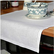 Linen & Cotton Hemstitched Table Runner FLORENCE,
