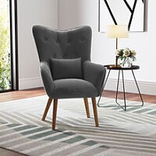 Linen Curved Buttoned Back Single Sofa Armchair