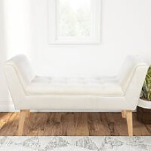 Linen Footstool Window Seat Bench, Beige