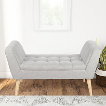 Linen Footstool Window Seat Bench, Grey