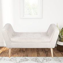 Linen Footstool Window Seat Bench, Light Grey