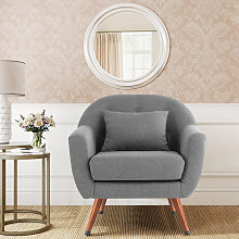 Linen Leisure Accent Armchair With With Cushion,