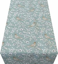 Linen Loft Dainty Songbird Table Runner. Duck Egg