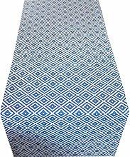 Linen Loft Geometric Blue Ikat Table Runner.