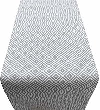Linen Loft Geometric Grey Ikat Table Runner.
