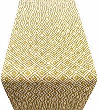 Linen Loft Geometric Ochre Yellow Ikat Table