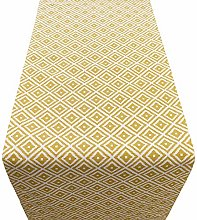 Linen Loft Geometric Ochre Yellow Ikat Table
