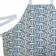 Linen Loft Nautical Sardine Fish Apron. Blue and
