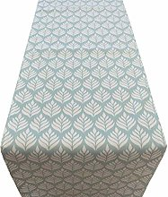 Linen Loft Scandi Leaf Table Runner in Duck Egg