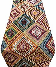 Linen Loft Turkish Kilim Table Runner. Abstract