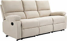 Linen-Look 3 Seater Manual Reclining Sofa Home