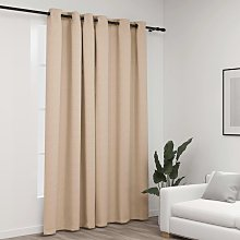 Linen-Look Blackout Curtain with Grommets Beige