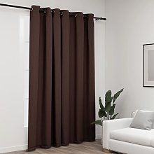 Linen-Look Blackout Curtain with Grommets Taupe
