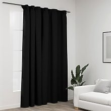 Linen-Look Blackout Curtain with Hooks Anthracite