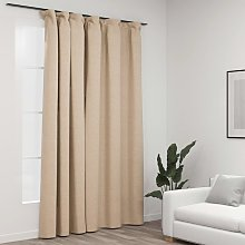 Linen-Look Blackout Curtain with Hooks Beige