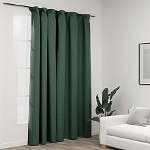 Linen-Look Blackout Curtain with Hooks Green
