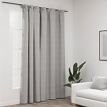 Linen-Look Blackout Curtain with Hooks Grey