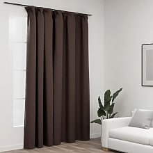 Linen-Look Blackout Curtain with Hooks Taupe