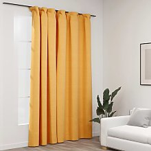 Linen-Look Blackout Curtain with Hooks Yellow