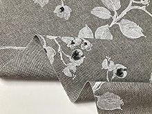 Linen Look Grey Floral Culla Fabric Furnishing