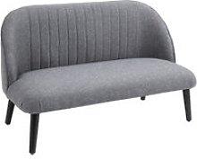 Linen-Look Mid-Century 2 Seater Sofa w/ Wood Legs