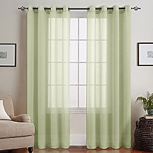 Linen Look Sheer Curtain Panels for Living Room