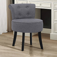 Linen Padded Vanity Stool Small Dining Chair