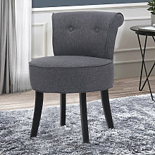 Linen Padded Vanity Stool Small Makeup Chair