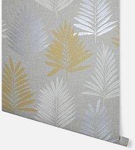 Linen Palm Ochre & Grey Wallpaper 697800 - Arthouse