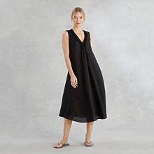 Linen Pintuck V-Neck Dress, Black, Small