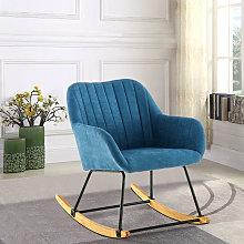 Linen Rocking Chair Armchair, Blue