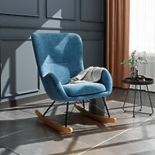 Linen Rocking Chair Armchair With Pocket, Blue