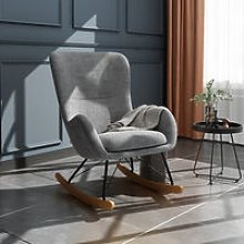 Linen Rocking Chair Armchair With Pocket, Light
