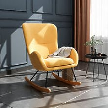 Linen Rocking Chair Armchair With Pocket, Yellow