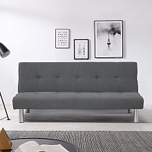Linen Simple 2 Seater Sofa Bed, Dark Grey