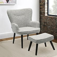 Linen Smiley Lounge Armchair and Footstool, Ash