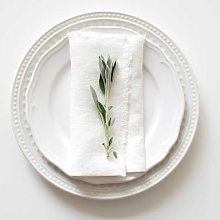 Linen Tales - Linen Napkins Set of 2 White with
