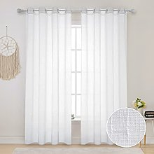 Linen Textured White Outdoor Sheer Curtain for