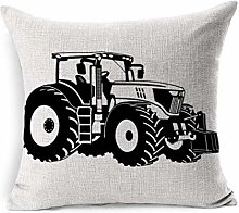 Linen Throw Pillow Cover Square Black Tractor