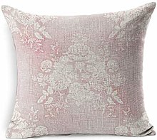 Linen Throw Pillow Cover Square Blossom Pink