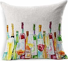 Linen Throw Pillow Cover Square Booze Watercolor