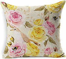 Linen Throw Pillow Cover Square Pink Bee English