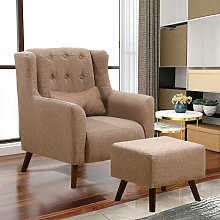 Linen Wingback Armchair And Footstool, Coffee