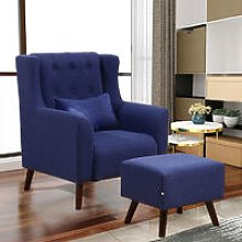 Linen Wingback Armchair And Footstool, Dark Blue