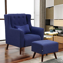 Linen Wingback Armchair And Footstool, Dark Blue